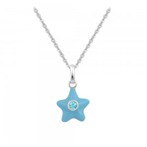 Sterling Silver Girl's March Birthstone Star Pendant Necklace (12-18 In)