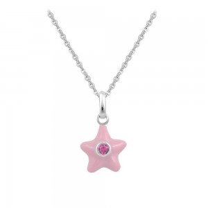 Sterling Silver Girl's October Birthstone Star Pendant Necklace (12-18 In)