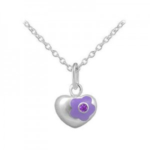12-18 Inches Silver June Birthstone Flower Heart Girls Necklace