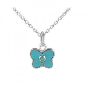 Girl's Sterling Silver March Birthstone Enamel Butterfly Necklace (12-18 in)
