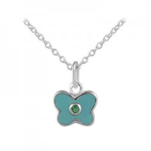 Girl's Sterling Silver May Birthstone Enamel Butterfly Necklace (12-18 in)