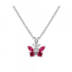 Girl's Sterling Silver CZ July Birthstone Butterfly Necklace (15 in)