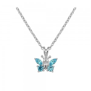 Girl's Sterling Silver CZ December Birthstone Butterfly Necklace (15 in)