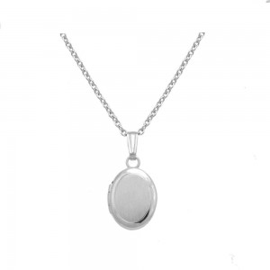 Baby And Toddler Jewelry - 13 In Sterling Silver Oval Locket Necklace