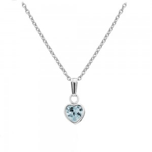 Little Girl Sterling Silver March Birthstone Heart Pendant Necklace (13 in)