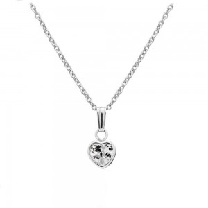 Little Girl Sterling Silver April Birthstone Heart Pendant Necklace (13 in)