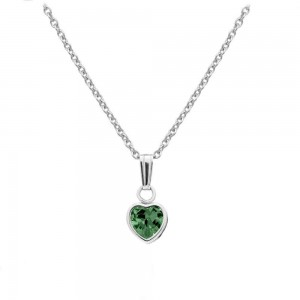 Little Girl Sterling Silver May Birthstone Heart Pendant Necklace (13 in)