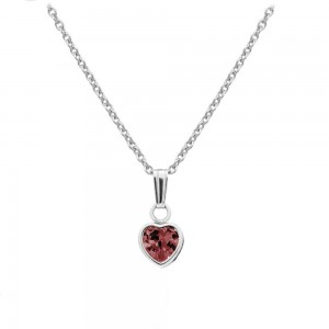 Little Girl Sterling Silver July Birthstone Heart Pendant Necklace (13 in)