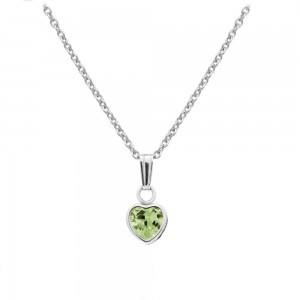 Little Girl Sterling Silver August Birthstone Heart Pendant Necklace (13 in)