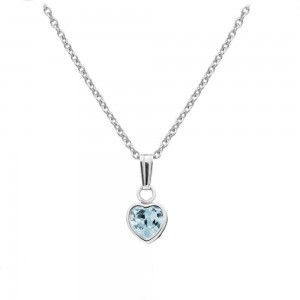 Little Girl Sterling Silver December Birthstone Heart Pendant Necklace (13 in)