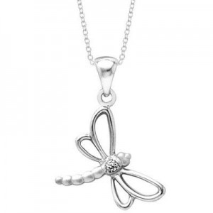 Young Girl's Sterling Silver Diamond Dragonfly Necklace (14 to 16 inches)