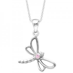Young Girl's Silver Dragonfly Necklace With Pink Sapphire (14 to 16 inches)