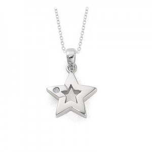 Young Girl's Sterling Silver Diamond Star Pendant With Chain (14 to 16 inches)