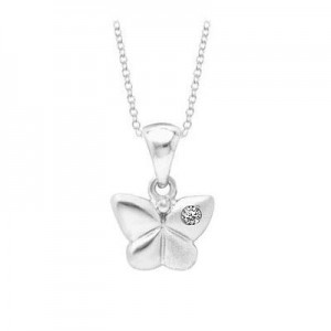 Young Girl's Silver Diamond Butterfly Pendant With Chain (14 to 16 inches)