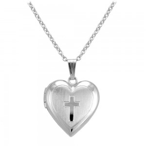 Girl's Sterling Silver Heart Shaped Engraved Cross Locket Necklace (15 in)