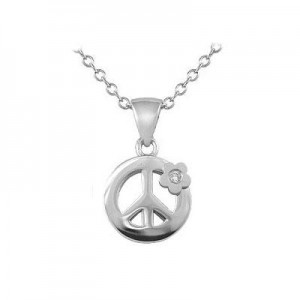 Girls Silver Diamond Peace Sign Pendant Trace Chain Necklace (14-16 inches)