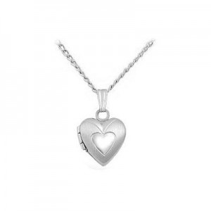 Babies And Toddlers Sterling Silver Heart Locket With 13 Inches Chain
