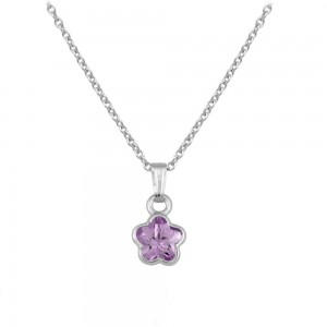 Silver CZ June Birthstone Flower Necklace For Babies & Toddlers (13 in)