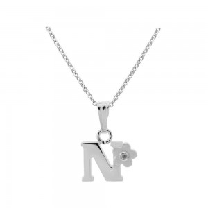 Sterling Silver Diamond Initial N Pendant Girls Necklace (14-16 in)