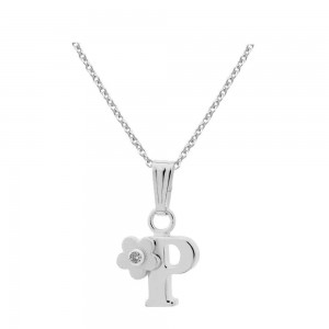 Sterling Silver Diamond Initial P Pendant Girls Necklace (14-16 in)