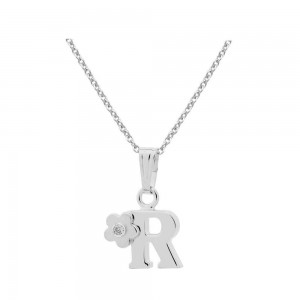Sterling Silver Diamond Initial R Pendant Girls Necklace (14-16 in)