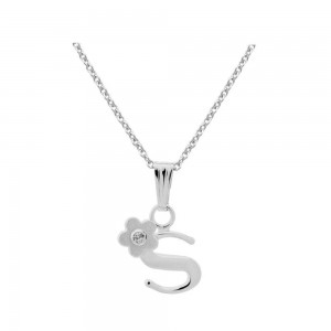 Sterling Silver Diamond Initial S Pendant Girls Necklace (14-16 in)