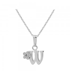Sterling Silver Diamond Initial W Pendant Girls Necklace (14-16 in)