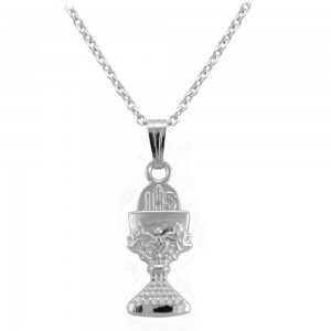 Girl's 15 In Sterling Silver Floral Engraved Chalice Pendant Necklace