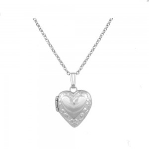 13 Inches Baby & Toddler Sterling Silver Floral Heart Locket Necklace
