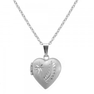 Girl's 15 In Silver Engraved Star and Fern Leaf Heart Locket Necklace
