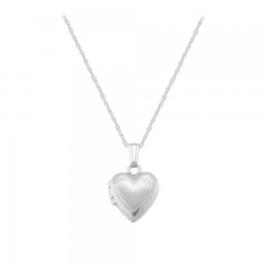 Baby & Toddler Jewelry - 13 In 14K White Gold Heart Locket Necklace