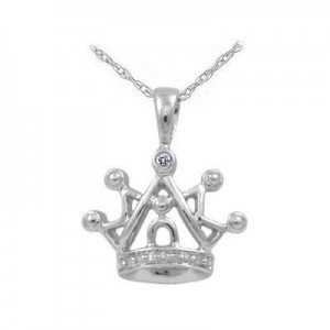 Girl's 14K White Gold Diamond Accented Crown Pendant Necklace (15 in)