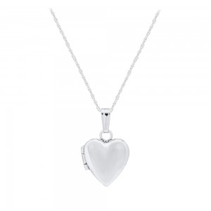 Baby And Toddler Jewelry - 13 Inches 14K White Gold Heart Locket Necklace