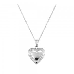 Children's 14K White Gold Floral Heart Locket with Rope Chain (15 inches)