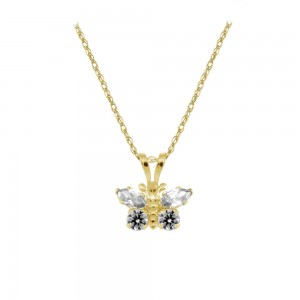 Girl's 14K Yellow Gold CZ April Birthstone Butterfly Necklace (15 in)
