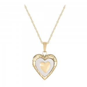 14K Yellow Gold Mother of Pearl Heart Locket Necklace For Children (15 in)