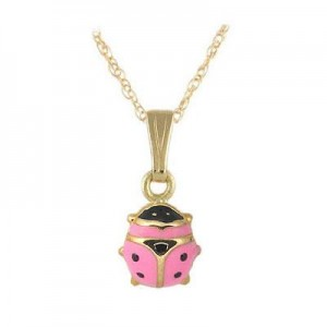 Children 14K Yellow Gold Pink Enamel Ladybug Pendant Necklace (15 in)