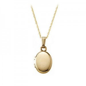 13 Inches Rope Chain 14K Yellow Gold Oval Locket For Babies Or Toddlers