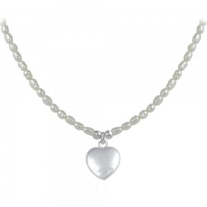 Girl's Sterling Silver Cultured Rice Pearl Heart Pendant Necklace (15-17 in)