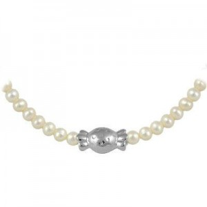 Sterling Silver 4mm Cultured Pearl Bonbon Candy Girl's Necklace (15-17 In)