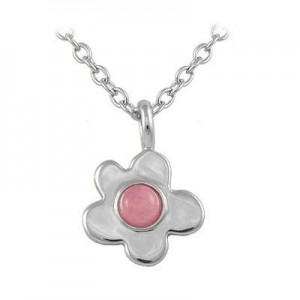 Girl's Sterling Silver Resin Flower Pendant Necklace