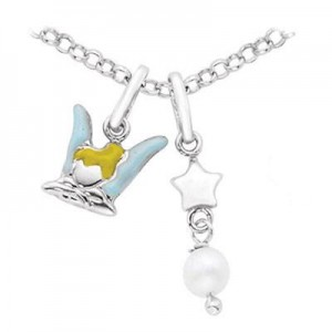 Children's Silver Tinkerbell & Star With Cultured Pearl Charm Necklace (14-16 in
