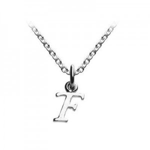 Children's Jewelry - Silver Cursive Initial F Pendant Necklace (14,16,18 in)