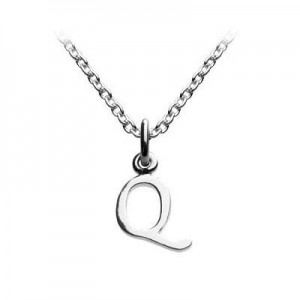 Children's Jewelry - Silver Cursive Initial Q Pendant Necklace (14,16,18 in)