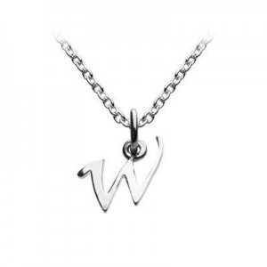 Children's Jewelry - Silver Cursive Initial W Pendant Necklace (14,16,18 in)