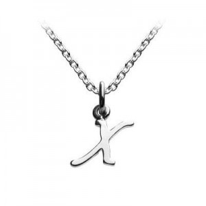 Children's Jewelry - Silver Cursive Initial X Pendant Necklace (14,16,18 in)