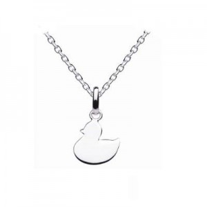Sterling Silver Plain Duck Pendant Children's Necklace (14,16,18 in)
