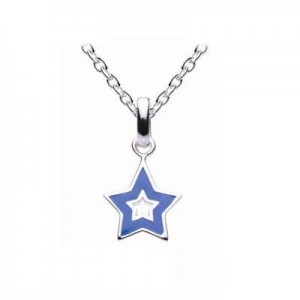 Kids Sterling Silver Blue Enameled Star Pendant Necklace (14,16,18 in)