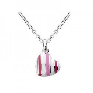 12-14 Inch Silver Stripe Enameled Candy Heart Kids Necklace For Girls