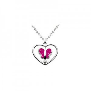 12-14 Inches Silver Spinning Enameled Butterfly Heart Girls Necklace